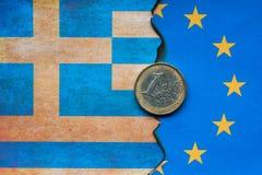 Conceito grego da bandeira do Euro foto de stock royalty free