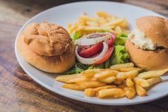 Conceito grego do alimento Bolo com salada de frango, batatas fritas imagem de stock