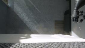 Conceito home da limpeza do sofá com um close up do líquido de limpeza do vapor do vapor de água filme
