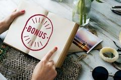 Conceito Incentive do gráfico do dinheiro da recompensa do benefício do bônus Fotografia de Stock Royalty Free