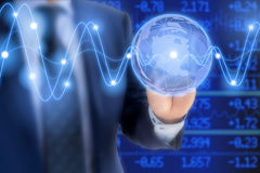 Conceito incorporado do negócio global com globo de vidro Foto de Stock Royalty Free