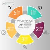 Conceito infographic do círculo de negócio Elementos do círculo do vetor para infographic O molde 5 infographic posiciona, etapas ilustração do vetor