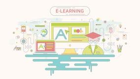 Conceito infographic do ensino eletrónico Computador e ícones em linha da educação ilustração do vetor