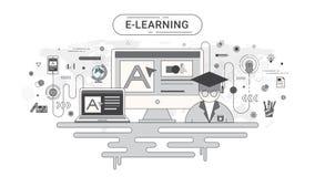 Conceito infographic do ensino eletrónico Computador e ícones em linha da educação no fundo do mapa do mundo criado pelo ilustração stock