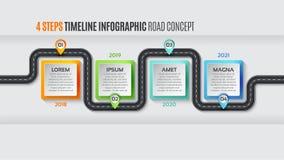 Conceito infographic do espaço temporal de 4 etapas do mapa da navegação ilustração stock