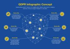 Conceito infographic europeu de GDPR com o símbolo do protetor feito dos polígono da rede como o símbolo principal Fotos de Stock