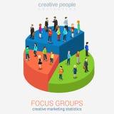 Conceito infographic isométrico da Web 3d lisa social do mercado ilustração stock