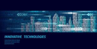 Conceito inteligente do negócio do sistema de automatização de construção da cidade esperta Fluxo de dados do número de código bi ilustração do vetor