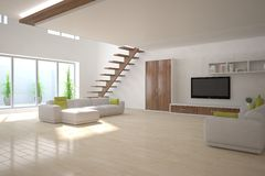 Conceito interior branco para a sala de visitas Imagens de Stock