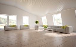 Conceito interior branco para a sala de visitas Foto de Stock Royalty Free