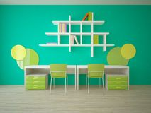 Conceito interior verde para a sala de crianças Fotografia de Stock