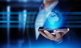 Conceito internacional da tecnologia do Internet da rede do negócio do globo de Digitas Foto de Stock Royalty Free