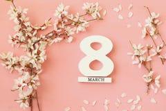 Conceito internacional do dia das mulheres Árvore e data de cereja Imagens de Stock