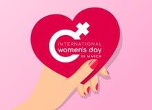 Conceito internacional do dia das mulheres com projeto do vetor da bandeira do coração do rosa da posse da mulher da mão ilustração stock