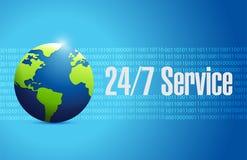 24-7 conceito internacional do sinal do serviço Fotos de Stock