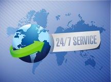 24-7 conceito internacional do sinal do serviço Fotografia de Stock