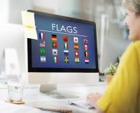 Conceito internacional estrangeiro do símbolo dos países da bandeira fotos de stock royalty free