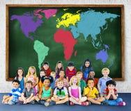 Conceito internacional global da globalização do mapa do mundo Fotos de Stock Royalty Free
