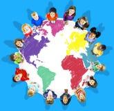 Conceito internacional global da globalização do mapa do mundo Foto de Stock Royalty Free