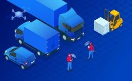 Conceito isométrico da automatização da logística Conceito da entrega com os veículos isométricos para o transporte de carga inte ilustração stock