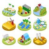Conceito isométrico da ecologia Energia renovável Indústria da agricultura Alimento natural saudável ilustração royalty free