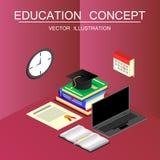 Conceito isométrico da educação e do vetor da graduação 3d de volta ao sc Fotos de Stock Royalty Free