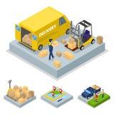 Conceito isométrico da entrega com processo de carga, transporte do frete ilustração royalty free