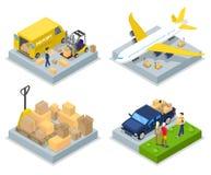 Conceito isométrico da entrega Transporte mundial Carga aérea, transporte do frete ilustração royalty free