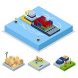 Conceito isométrico da entrega Transporte mundial, transporte do frete ilustração royalty free