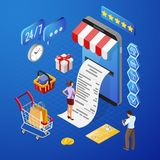 Conceito isométrico de compra dos pagamentos em linha do Internet fotos de stock royalty free