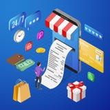 Conceito isométrico de compra dos pagamentos em linha do Internet foto de stock