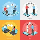 Conceito isométrico de conversa dos ícones dos povos ilustração stock