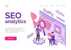 Conceito isométrico de Seo Analytics para o Web site ilustração royalty free