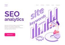 Conceito isométrico de Seo Analytics para o Web site ilustração stock