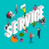 Conceito isométrico do departamento de serviço ao cliente Grupo de serviço da conferência diverso Ilustração do JPG + do vetor ilustração do vetor