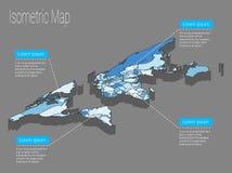 Conceito isométrico do mundo do mapa ilustração 3d lisa Imagem de Stock