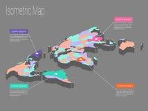 Conceito isométrico do mundo do mapa ilustração 3d lisa Imagens de Stock Royalty Free