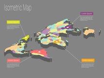 Conceito isométrico do mundo do mapa ilustração 3d lisa Imagem de Stock Royalty Free
