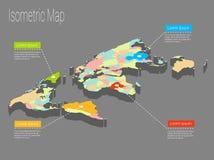 Conceito isométrico do mundo do mapa ilustração 3d lisa Foto de Stock Royalty Free