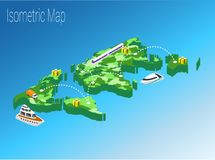 Conceito isométrico do mundo do mapa ilustração 3d lisa Foto de Stock