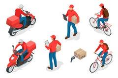 Conceito isométrico do serviço de entrega ou do serviço de correio Trabalhadores ou correio da entrega Ilustração do vetor ilustração royalty free