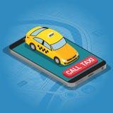Conceito isométrico do táxi em linha fotografia de stock