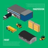Conceito isométrico do transporte do frete ilustração do vetor