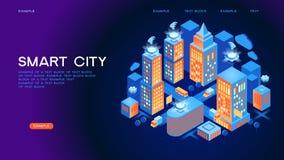 Conceito isométrico do vetor da cidade esperta ou da construção inteligente ilustração do vetor