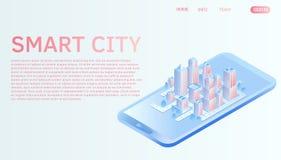 Conceito isométrico do vetor da cidade esperta ou da construção inteligente Molde da página da aterrissagem do Web site ilustração do vetor