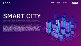 Conceito isométrico do vetor da cidade esperta ou da construção inteligente Molde da página da aterrissagem do Web site ilustração stock