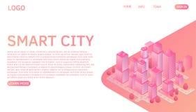 Conceito isométrico do vetor da cidade esperta ou da construção inteligente Molde da página da aterrissagem do Web site ilustração royalty free