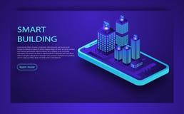 Conceito isométrico do vetor da cidade esperta ou da construção inteligente Tecnologia do futuro da plataforma de IoT Conceito is ilustração do vetor