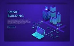 Conceito isométrico do vetor da cidade esperta ou da construção inteligente Tecnologia do futuro da plataforma de IoT Conceito is ilustração royalty free