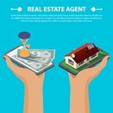 Conceito isométrico dos bens imobiliários Foto de Stock Royalty Free